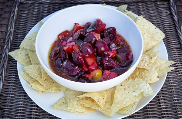 Summer fruit salsa, from chef Kathy Gunst. (Robin Lubbock/WBUR)