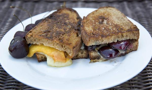 Grilled cheese and fruit, from chef Kathy Gunst. (Robin Lubbock/WBUR)