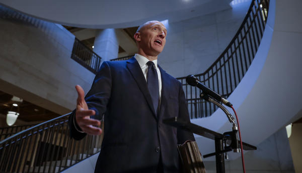 Carter Page, a foreign policy adviser to Donald Trump's 2016 presidential campaign, spoke with reporters following a day of questions from the House intelligence committee in November 2017.