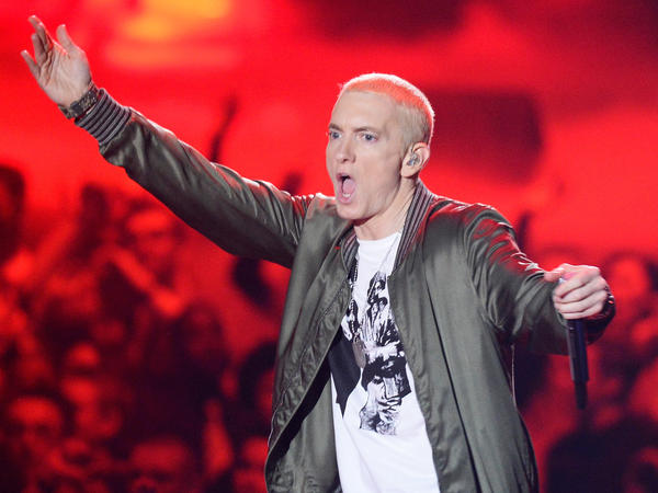 "Eminem onstage at the 2014 MTV Movie Awards. A version of the rapper's 2002 song ""Lose Yourself"" was used in a New Zealand ad campai"