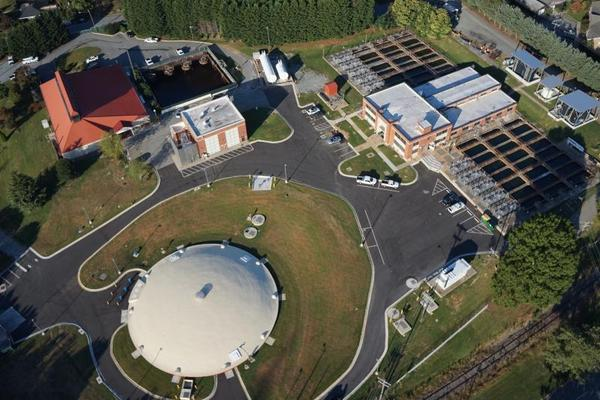 An aerial photo of one of Greensboro's water plants. This is the Mitchell facility located close to downtown