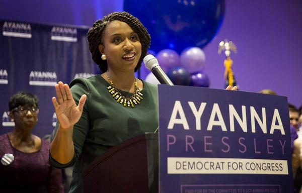 Ayanna Pressley makes addresses supporters celebrating her primary win. (Robin Lubbock/WBUR)