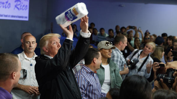 President Trump tosses paper towels into a crowd in Puerto Rico after Hurricane Maria hit the island in 2017.
