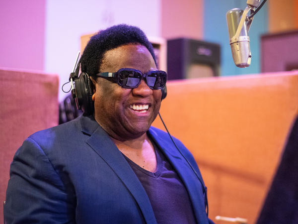 "Al Green in studio recording ""Until the Next Teardrop Falls"""