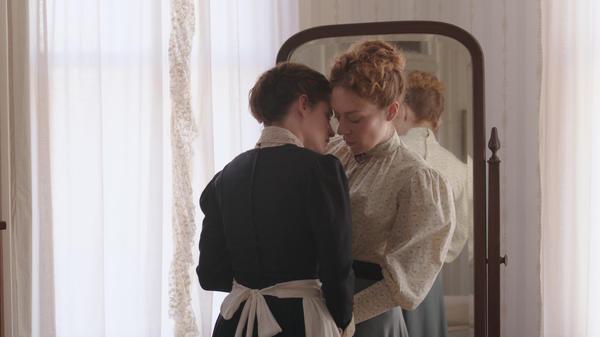 Bridget (Kristen Stewart, left) and Lizzie (Chloe Sevigny, right) decide to take a whack at love in <em>Lizzie</em>.