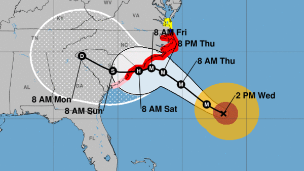 "Hurricane Florence is expected to cross through South Carolina after making landfall. ""Life-threatening, catastrophic flash flooding and significant river flooding is likely over portions of the Carolinas late this week into early next week,"" the National Hurricane Center says."