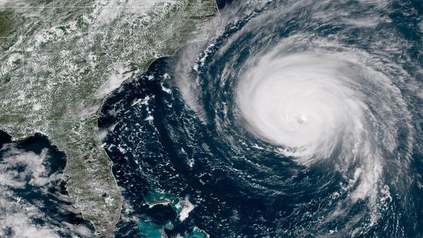 Hurricane Florence will bring tropical storm conditions to North Carolina and South Carolina on Thursday and hurricane conditions on Friday. This satellite image was captured around 1:45 p.m. ET Wednesday.