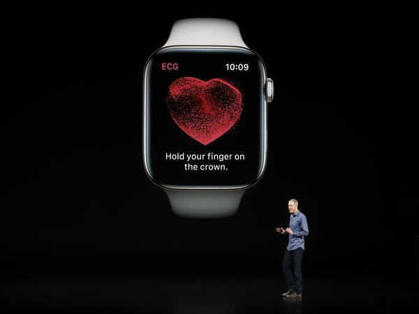 Jeff Williams, Apple's chief operating officer, speaks about the new Apple Watch Series 4 at the company's product-launch event in Cupertino, Calif., on Wednesday. The new Watch includes a sensor allowing users to take an electrocardiogram they can share with their doctor.