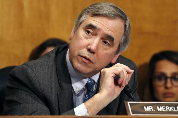 <p>Sen. Jeff Merkley, D-Ore., questions Secretary of State-designate Mike Pompeo during a Senate Foreign Relations Committee confirmation hearing Thursday, April 12, 2018 on Capitol Hill.</p>
