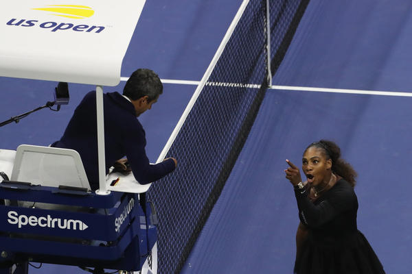 Serena Williams argues with umpire Carlos Ramos during her women's singles finals match against Naomi Osaka at the 2018 U.S. Open at the USTA Billie Jean King National Tennis Center on Sept. 8, 2018. (Jaime Lawson/Getty Images for USTA)