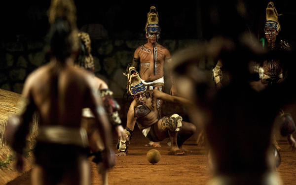 A traditional indigenous ballgame is among the pre-Hispanic exhibitions at an eco-archaeological theme park in Xcaret, Mexico.