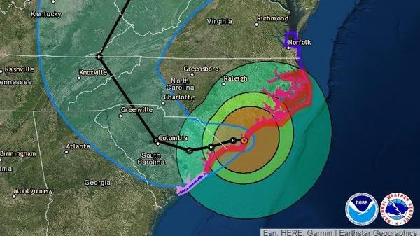 Once inland, Florence is expected to head west — and even a bit south — before looping up toward Tennessee and Kentucky early next week.