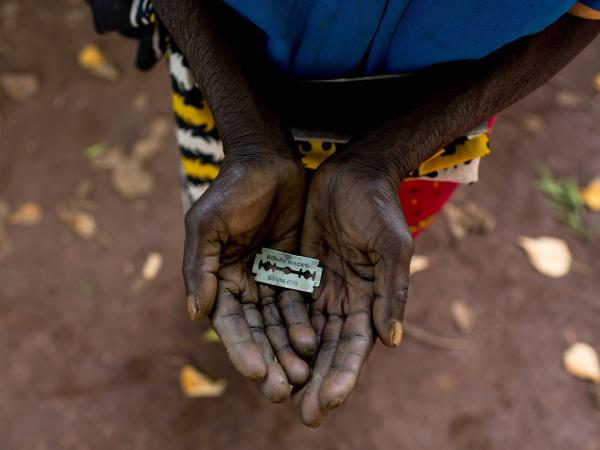 Some cutters use a razor blade for the female genital mutilation procedure.