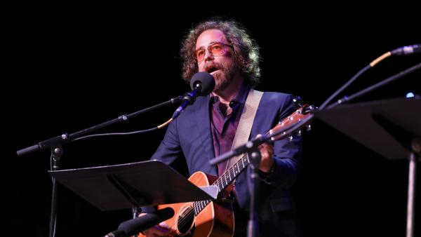 House musician Jonathan Coulton leads a parody game on Ask Me Another at the Pageant in St. Louis, Missouri.