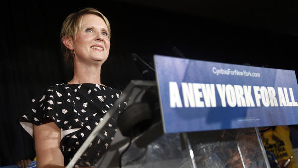 Gubernatorial candidate Cynthia Nixon delivers her concession speech.