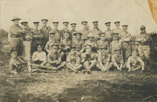 Winnie is pictured here with the Winnipeg section of the Canadian Army Veterinary Corps. The photograph was taken in Valcartier, Quebec, where the Canadian soldiers trained for Europe. (Courtesy)