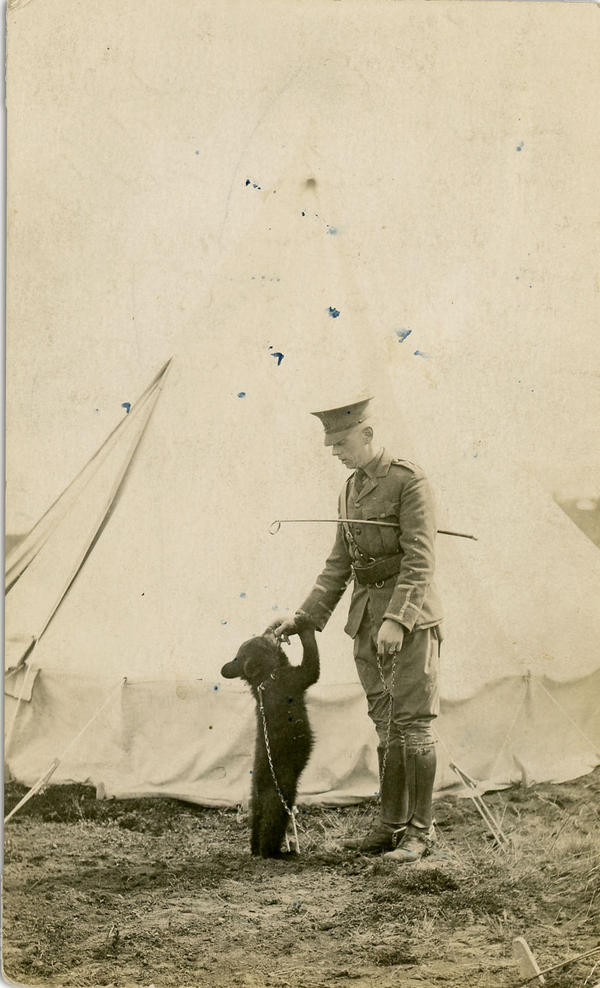 Harry Coleborne with Winnie at the military base in Valcartier, Quebec. (Courtesy)