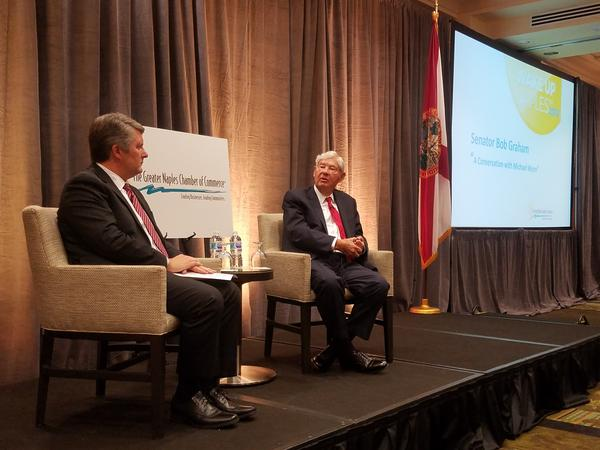 Former U.S. senator and Florida Gov. Bob Graham speaking with Michael Wynn of the Leadership Collier Foundation during a Greater Naples Chamber of Commerce event on Wednesday, Sept. 12, 2018.