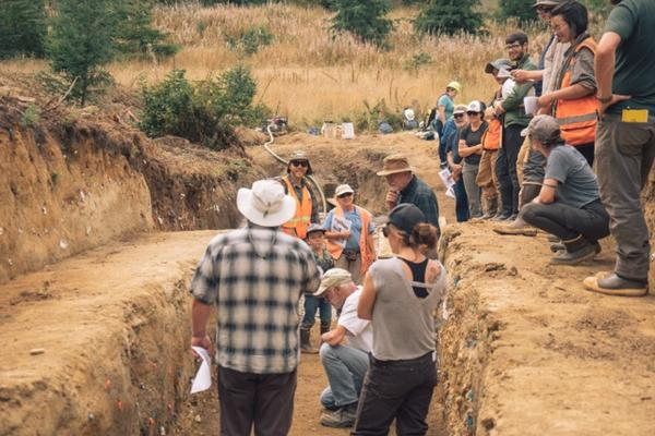 A study trench reveals the earthquake history of the Sadie Creek fault southwest of Joyce, Washington.