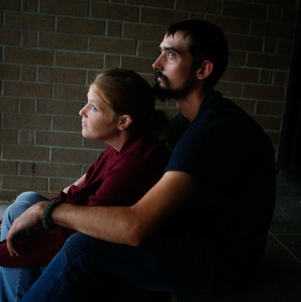 Amanda and Taylor Johns evacuated to a shelter set up at Conway High School in Conway, S.C., on Tuesday.