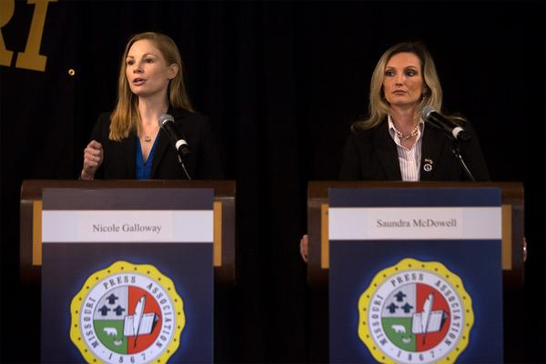 State Auditor Nicole Galloway, left, and her Republican challenger Saundra McDowell participated in a debate Friday.