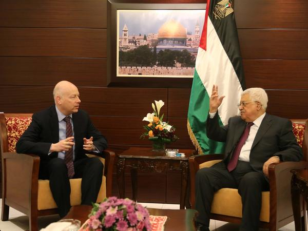 Special representative for international negotiations, Jason Greenblatt (L) and Palestinian President Mahmoud Abbas (R) meet in Ramallah, West Bank on May 25, 2017.
