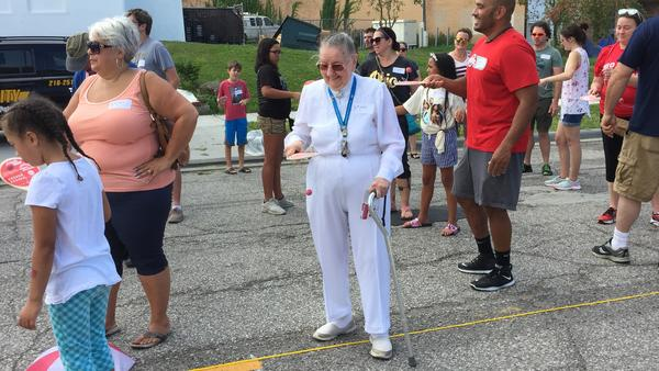 Mary-Ann Nolan, who lives near the new Paddle Ball statue, says she'd never used a paddle ball, nor had she ever been part of a world record attempt.
