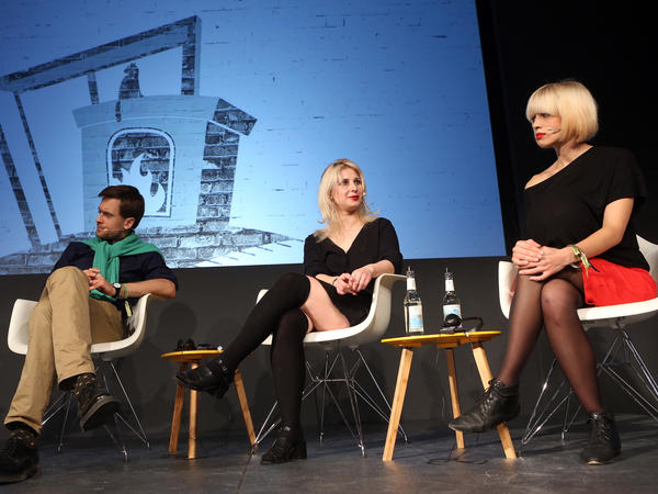Pyotr Verzilov, left, the unofficial spokesperson of the Russian activist group Pussy Riot, along with Maria Alyokhina and Nadezhda Nadya Tolokonnikova, founding members of the group.