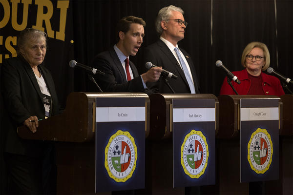 From left, Green Party candidate Jo Crain, Republican Attorney General Josh Hawley, independent Craig O'Dear and Democratic Sen. Claire McCaskill participate in a candidate forum in Maryland Heights on Sept. 14, 2018.