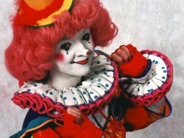 Pricilla Mooseburger, one of the characters created by Tricia Manuel, a veteran clown who's seen her industry hurt by menacing depictions in popular culture.