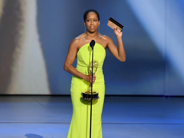 Regina King accepts the Emmy Award for outstanding lead actress in a limited series or movie.