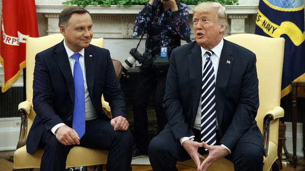 President Trump speaks to reporters before a private meeting with Polish President Andrzej Duda in the Oval Office on Tuesday.
