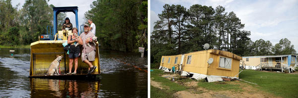 Left: Jimmy Shackleford, 74, of Burgaw transports his son Jim, his wife Lisa, and their pets Izzy, Bella and Nala in the bucket of his tractor as the Northeast Cape Fear River breaks its banks in Burgaw, N.C. on Monday. Right: A mobile home sits off its foundation, knocked loose by floodwaters from Hurricane Florence near the Nuese River in Kinston, N.C. on Monday.