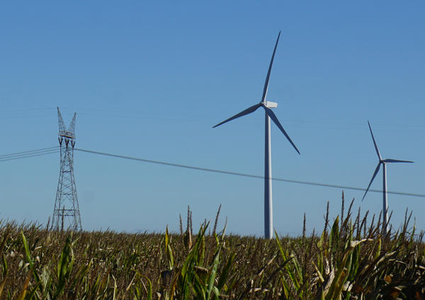Wind turbines and transmission lines, southern DeKalb county