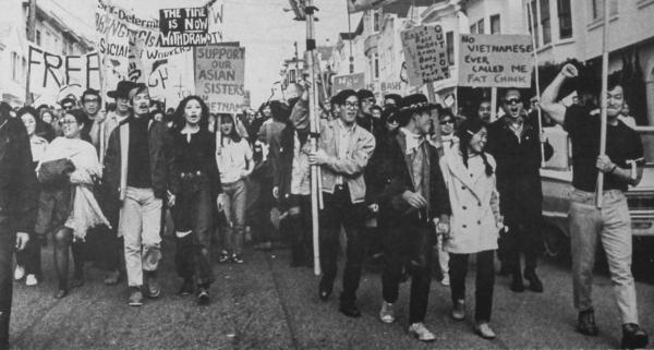 In this photo from the 1969 issue of <em>Gidra</em>, a radical magazine created by Asian American activists at the University of California, Los Angeles, Asian Americans take part in a Vietnam moratorium peace march in San Francisco.