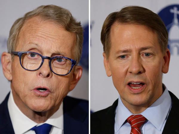 Republican Mike DeWine (left) and Democrat Richard Cordray squared off in the first Ohio Governor debate at the University of Dayton on Thursday.