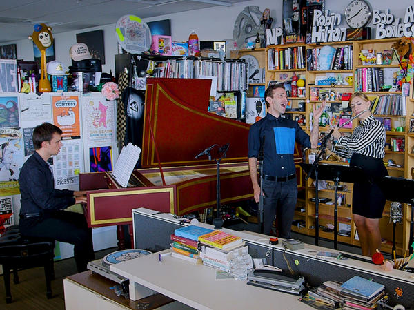 Anthony Roth Costanzo performs a Tiny Desk Concert on Aug. 10, 2018 (Morgan Noelle Smith/NPR).