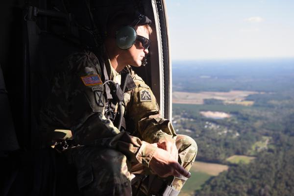 Lt. Gen. Jeffrey Buchanan surveys flooding and damage from Hurricane Florence during a helicopter ride from Raleigh to Wilmington, N.C., on Wednesday. Buchanan also assisted after Hurricane Maria in Puerto Rico.