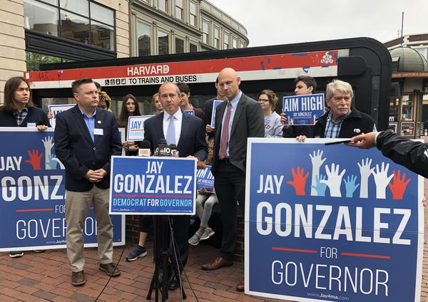 Massachusetts Democratic candidate for governor Jay Gonzalez announces his plan to tax endowments of wealthy Massachusetts colleges in Boston on September 19, 2018.