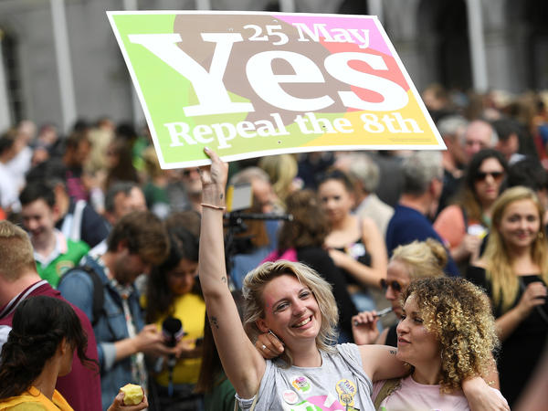Supporters celebrate the result of the May 25 referendum in which voters backed the repeal of Ireland's abortion law. The country's health minister predicts the services will be free when they're offered in 2019.