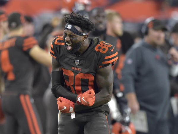 Cleveland Browns wide receiver Jarvis Landry celebrates as the Browns seal their first win since December 2016. On Thursday night, Landry had more than 100 yards receiving — and he threw a two-point conversion pass to quarterback Baker Mayfield.