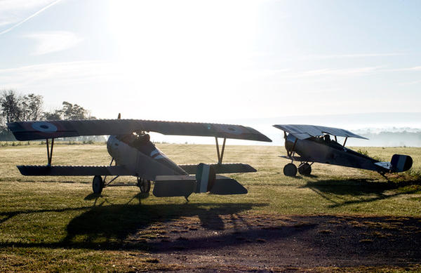 Dawn takeoff.  Scene from forthcoming film, The Lafayette Escadrille, A feature length documentary.