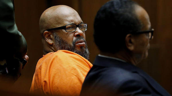 "Marion ""Suge"" Knight (left), seen with attorney Albert DeBlanc, pleaded no contest to voluntary manslaughter in Los Angeles Superior Court on Thursday."