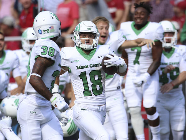 North Texas Mean Green wide receiver Keegan Brewer returns a punt for a touchdown on a fake fair catch.