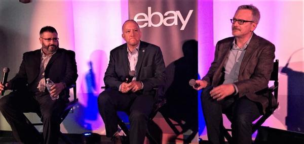eBay executives Paul Gazeley (l) and Chris Librie (r) flank Arkon Mayor Dan Horrigan at eBay@Home announcement.