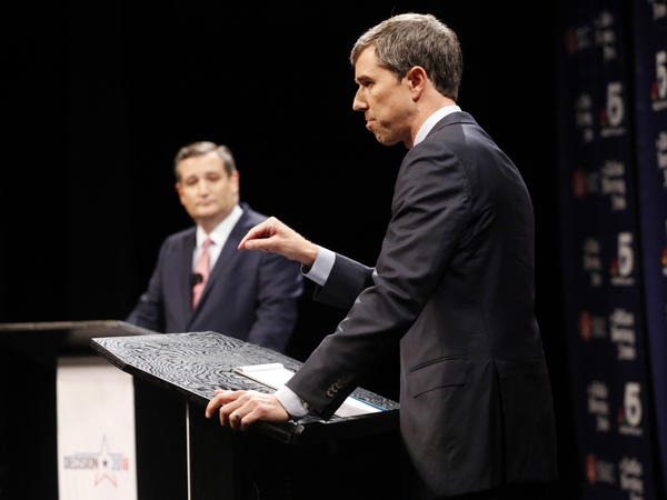 Democratic Rep. Beto O'Rourke makes a point as Republican Sen. Ted Cruz listens Friday during a debate at Southern Methodist University in Dallas.