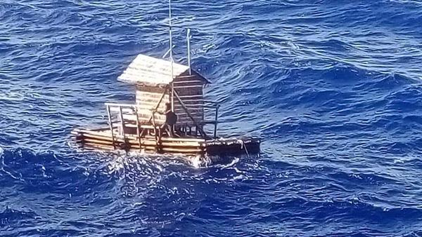 Aldi Novel Adilang's floating fishing hut was spotted by a passing cargo ship, the MV Arpeggio, after drifting at sea for more than a month.