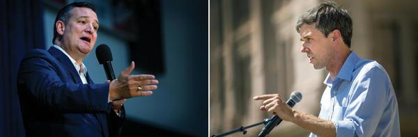 U.S. Sen. Ted Cruz (left) and Democrat Beto O'Rourke.