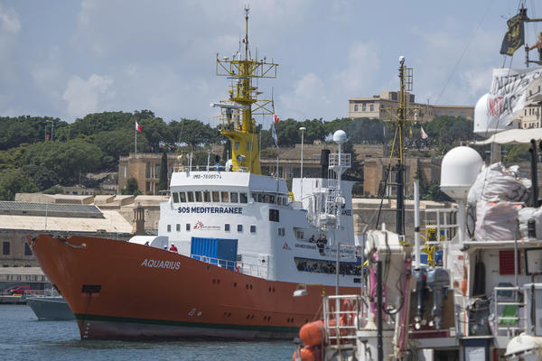 The Aquarius rescue ship last month as it entered the harbor of Senglea, Malta.