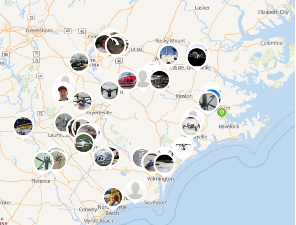 A screenshot of available drone crews deployed to the Carolinas last week. Power companies can survey damage with the drones while they wait for roads to reopen.